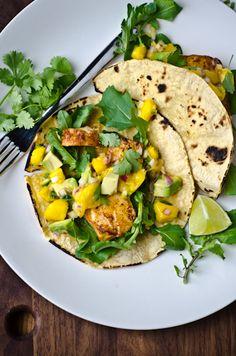 fish tacos with mango avacado salsa