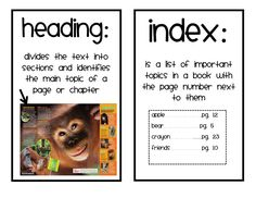 Buggy for Second Grade: Text Feature Freebie (grade 3 art informational writing) First Grade Phonics, Teaching Second Grade, 2nd Grade Writing, First Grade Reading, Text Features First Grade, Text Feature Anchor Chart, Teaching Reading, Reading Activities, Guided Reading