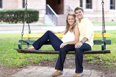 Engagement pictures on swing at Baylor University. Ashley Munn Photography.