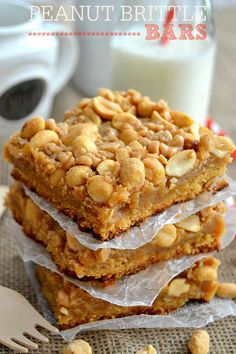 These buttery Peanut Brittle Bars taste just like the candy in a chewy, crunchy bar cookie form! They're easy to make, too! Thinking this would be good to add to Holiday trays. Different take on brittle. Cookie Desserts, Cookie Bars, Easy Desserts, Cookie Recipes, Delicious Desserts, Dessert Recipes, Yummy Food, Bar Cookies, Drop Cookies