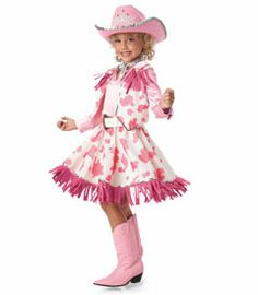 pink cowgirl girls costume - Only at Chasing Fireflies - Who says cowgirls can't be glamorous? This pink satin and pony-print dress with fringed vest, belt and bandana is just the thing for your li'l lady. Cowgirl Birthday, Cowgirl Party, Horse Party, 4th Birthday, Cowgirl Costume, Cowgirl Outfits, Cool Costumes, Halloween Costumes For Kids, Cowgirls