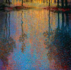 It is remarkable to see that the Dutch Painter, Ton Dubbeldam, often chooses themes that beautifully come together with his impressionistic and pointillist techniques.  There is a certain atmosphere about his canvasses, which will give you the feelings of a 17th century landscape painting.  You will notice his specific use of light and dark shades, the depth, the high skies, the wilderness and the far horizons, which are not disrupted by buildings or trees.
