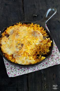 Arroz con butifarra y setas gratinado con Alioli - Los domingos si preparase arroz todas las semanas, todos contentos y como no!!!
