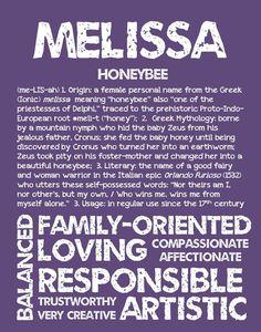 MELISSA Personalized Name Print / Typography Print by OhBabyNames