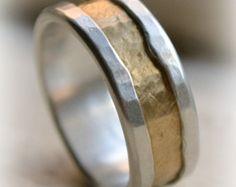 rustic fine silver and brass ring handmade por MaggiDesigns