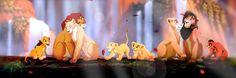 Simba,nala and their daughter Kiara and her mate Kovu. Then them all as adults