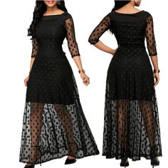 Long Black Lace Dress Polka Dot Mesh Maxi Dress #longblacklacedress #polkadotmeshmaxidress Dresses For Less, Sexy Dresses, Cocktail Party Outfit, Dress Party, Party Dresses, Boho Dress, Lace Dress, Plus Size Cocktail Dresses, Mesh Dress