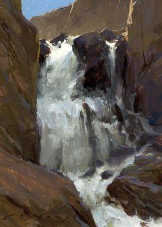 """North Lake Falls; Sierra""; Oil on Panel, 12"" x 9"", by Jeremy Lipking"