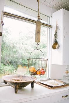fruit+baskets+for+kitchens | Our New Obsession – Hanging Fruit Baskets