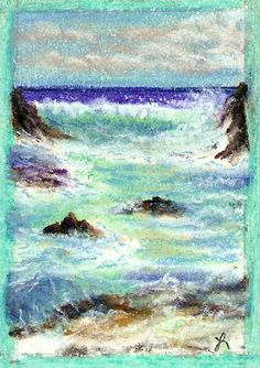 Rocky Shores Chalk Pastel on Paper 3x4 inches - Tipsy Scribbles - A picture says a thousand words when wine loosens the tongue.