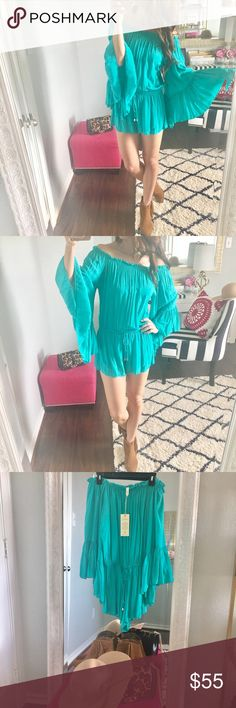 Flare Sleeve Romper Dress up for a GNO or pair with sandals for a shopping spree! Either way, you're a show stopper for sure in this adorable turquoise romper.  {Size Medium} Never been worn - perfect condition  No trades, please  Pants Jumpsuits & Rompers