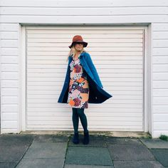 Xanthe B wears Boden Ingrid Coat and Printed Shirt Dress. March 2015