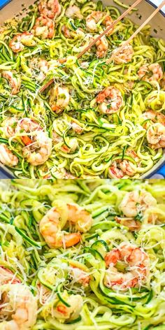 This Shrimp Scampi with Zucchini Noodles makes a tasty and healthy dinner. The shrimp are cooked in a lemon-garlic sauce and then combined with zoodles. All Recipes Chili, Best Seafood Recipes, Top Recipes, Salad Recipes, Recipies, Low Carb Dinner Recipes, Healthy Eating Recipes, Healthy Eats, Buttery Shrimp