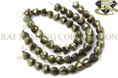 Pyrite Faceted Trillion (Quality B) Shape: Trillion Faceted Length: 18 cm Weight Approx: 39 to 41 Grms. Size Approx: 10 to 10.5 mm Price $23.86 Each Strand