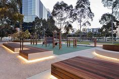 CLEC Site Docklands Park – Stage 2 | Melbourne, Australia | MALA Studio #park #landscapearchitecture #corten #edge #seat #bench #concrete #LED #lights #night
