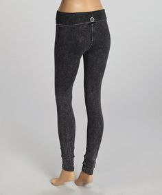 Love this Charcoal Marble Leggings - Women by 717 Yoga Couture on #zulily! #zulilyfinds