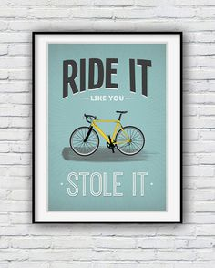 Cycling gifts Cycling poster Bike Bicycle art Quote by Redpostbox