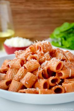 Whip up a four-ingredient recipe for the best Quick and Easy Vodka Pasta Sauce tossed with your choice of noodles.