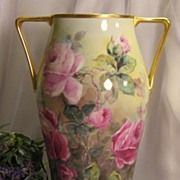 ~ TRULY REMARKABLE LARGE VICTORIAN TEA ROSES VASE ~ Gorgeous Antique Hand Painted Bavarian Floral Art Porcelain Vase w Elegant Coin Gold Handles Heirloom Beauty Circa 1890's