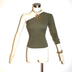 Shop for ysl on Etsy, the place to express your creativity through the buying and selling of handmade and vintage goods. Rive Gauche, Striped Knit, Saint Laurent, One Shoulder, Knitting, Trending Outfits, Blouse, Unique Jewelry, Vintage