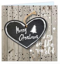 Vierkante kerstkaart met hout en linnen look op de ondergrond, confetti en speelse sterren!