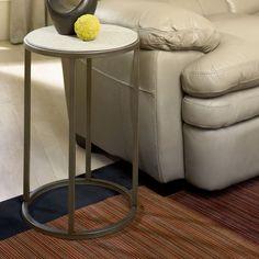 Hammary Modern Basics Round End Table - Natural Travertine / Textured Bronze   from hayneedle.com