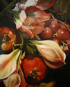 Diana Watson, Figurative and Still Life Australian Artist, Paintings - Spice of Life Series Art Floral, Big Flowers, Beautiful Flowers, Australian Artists, Australian Painters, Science Art, Large Art, Art Plastique, Botanical Art