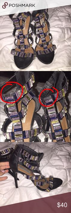 STEVE MADDEN HEELS Rhinestone heels!! Each shoe missing rhinestone as show in picture but not at all noticeable Steve Madden Shoes Heels