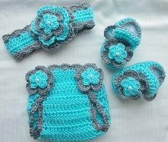 Bebé niña ganchillo diadema Hairbow botines pañal cubierta