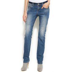 I.N.C. International Concepts Women's Straight Leg Jeans, Monday Wash