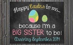 Custom Printable Easter Pregnancy Announcement // Pregnancy Reveal // Big Sister // Big Brother