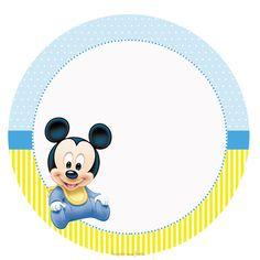 Mickey Baby – Kit festa infantil grátis para imprimir – Inspire sua Festa ® Festa Mickey Baby, Fiesta Mickey Mouse, Minnie Baby, Mickey Party, Baby Disney, Elmo Party, Dinosaur Party, Mickey Mouse Frame, Mickey Minnie Mouse