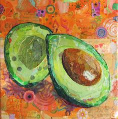 """READY FOR TOAST Original Paper Collage Avocado Painting 6 X 6"""" on Gallery wrapped canvas Painted Paper, Hand Painted, Acrylic Gel Medium, Avocado Art, Apple Painting, Paper Collage Art, Torn Paper, Watercolor And Ink, Beautiful Paintings"""