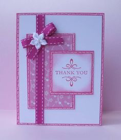 handmade card ... monochromatic magenta elements ... like this design ... good use of ribbon element ... sweet!!
