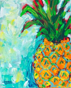 This pineapple art print is reproduced from my original 30 x 40 original acrylic… More