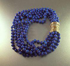 Peking Glass Bib Necklace with Rhinestone by LynnHislopJewels