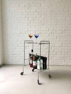 Zeitschriftenständer Barwagen Vintage Teewagen Mid Century String Regal, Bar Cart, Mid Century, Vintage, Interior, Furniture, Etsy, Home Decor, Drink Cart