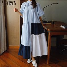 SuperAen Spring and Summer Long sleeved New Dress Female 2019 Korean Style Long Dress Women Loose Pluz Size V neck Cotton Dress|Dresses| - AliExpress Latest Kurti Design LATEST KURTI DESIGN : PHOTO / CONTENTS  FROM  IN.PINTEREST.COM #FASHION #EDUCRATSWEB