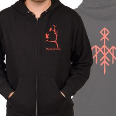 "Wardruna ""Ravens - Red"" Zipup Hoodies at https://www.indiemerch.com/wardruna/"