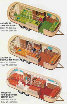 Argosy~Airstream interiors I really like the center layout mixed with the kitchen from the top one. Now if only I could find a cheap gutted long airstream Airstream Campers, Airstream Remodel, Airstream Interior, Vintage Airstream, Vintage Caravans, Vintage Travel Trailers, Remodeled Campers, Camper Trailers, Airstream Living