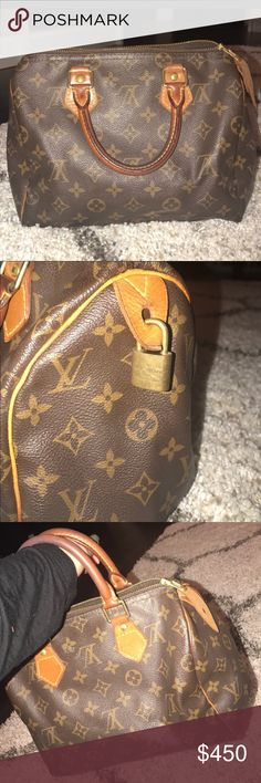 "HOLD FOR TRADE AUTHENTIC GREAT CONDITION LOUIS VUITTON SPEEDY 25. Louise Vuitton Speedy 25. Preloved in very good condition. Slight color change on handles. Collectors item.  Dimensions: 10""x6""x8"" Pet smoke free home.   AUTHENTIC ❣️FAST SHIPPING!❣️MAKE AN OFFER  Please see my other listings Louis Vuitton Bags Satchels"