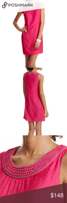 """NWT Vineyard Vines Pink Dobby Shift Dress size 12 Shift into party mode. The color, the fit, and fabulous fabric of our women's dress makes looking stylish and feeling comfy easier than ever.  Fabrics: · Shell: 68% rayon, 32% silk  · Lining: 100% polyester   Features: · Lightweight silk jacquard fabric  · Invisible side seam zipper  · Pleated fabric  · Contrast bead applique at neckline  · Fully lined  · Body length: 36"""" (based off size 6)  · Imported   Care Instructions: · Dry clean only…"""