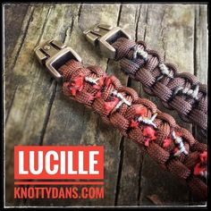 """""""Lucille is thirsty. She is a vampire bat!"""" A bracelet worthy of Negan a barbwire infused Lucille #lucille #thewalkingdead #negan #shewillhaveherrevenge #twd #amcthewalkingdead #paracord #barbwire #lucilleisthirsty"""