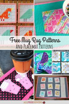 Free Mug Rug Patterns It's neither a coaster nor a placemat. Instead, it's a mug rug: a perfectly sized piece of Free Mug Rug Patterns It's neither a coaster nor a placemat. Instead, it's a mug rug: a perfectly sized piece of fabr Mug Rug Patterns, Sewing Patterns Free, Free Sewing, Quilt Patterns, Placemat Patterns, Canvas Patterns, Craft Patterns, How To Make Placemats, Christmas Mug Rugs