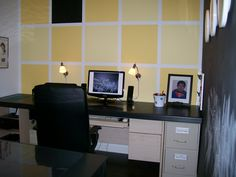 Office for a busy bee in yellow and black!  Painted yellow squares, a black board wall and a built-in 9' long desk!