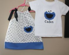 Set of 2 Twins Cookie Monster Twin Babies, Twins, Baby Girls, Free Clothes, Twin Clothes, Nursery Pictures, Sesame Street Party, Twin Outfits, Boy Birthday