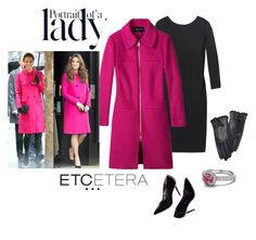 Etcetera: SORBONNE fuchsia coat with GLAMAZON black dress and LADY leather gloves. by etcetera-nyc on Polyvore featuring polyvore, fashion, style, Whit, Inez & Vinoodh, clothing, WorkWear, cocktails, etceteracollection, etceteranyc and holiday2015