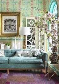 .just Love The Turquoise Couch With White Accents. Living Room Color  Schemes, Design