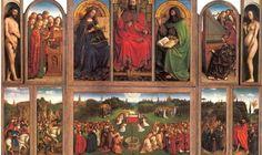 TITOLO: Polittico dell'agnello mistico AUTORI: Jan van Eyck e Hubert van Eyck DATA: 1426 e il 1432 TECNICA: Olio su tavola DIMENSIONI: 258 cm × 375 cm  UBICAZIONE: Cattedrale di San Bavone, Gand