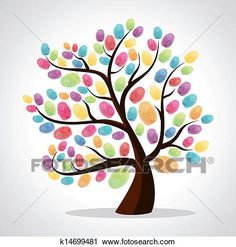 Art Print: Finger Prints Diversity Tree by cienpies : Finger Paint Art, Finger Painting For Kids, Toddler Crafts, Crafts For Kids, Arts And Crafts, Thumb Painting, Sand Crafts, Handprint Art, Tree Art